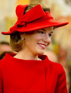 Queen Mathilde's decorative hat details during their visits to the province of Luxembourg on 18.10.13 in Arlon, Belgium.