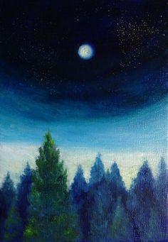 空想/幻想画「星と月と祈りの夜に」[山川空] | ART-Meter