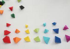 DIY origami rainbow color sorting