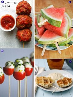 BIG list of really cool foods that are bite-size, on a stick, easy to grab and go - perfect for parties or weddings where you want people to be able to mingle. Love the watermelon idea! Tapas, Appetizers For Party, Appetizer Recipes, Food On Sticks, Stick Food, Bite Size Food, Good Food, Yummy Food, Catering Food