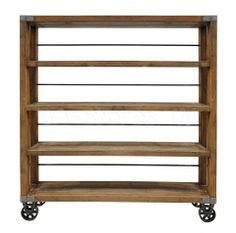 Showcasing caster feet and 4 tiers, this industrial-chic pine wood and iron bookcase brings rustic appeal to any room. Use it to display books and decor or stow bottles and glassware to create an impromptu home bar.
