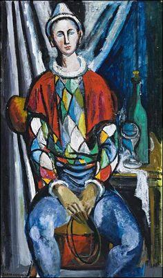 commedia dell'arte  par les grands peintres - Arlequin - Elaine Alys Haxton (1909–1999)