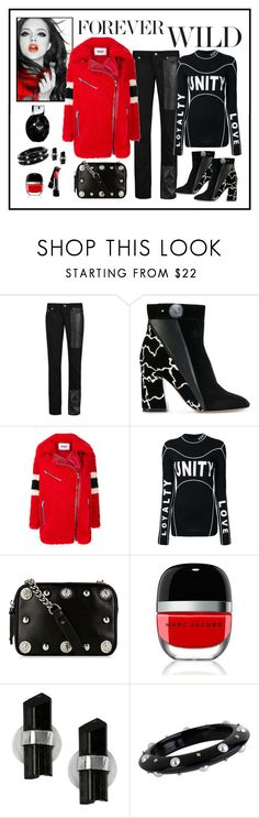 """MSGM Red Shearling Coat Look"" by romaboots-1 ❤ liked on Polyvore featuring McQ by Alexander McQueen, Nicholas Kirkwood, MSGM, Versace, Versus, Marc Jacobs, Melissa Joy Manning and Miriam Salat"