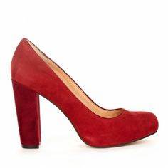 Block heel pumps - Ava in Chili Red