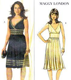 Butterick 4915 Maggy London Sleeveless Empire Waist Surplice Bodice Dress Flared Skirt Womens Sewing Pattern Bust 30 1/2 - 34 Uncut