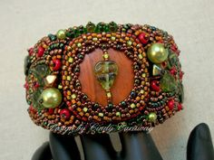 DEEP FOREST Bead Embroidery Cuff Bracelet.