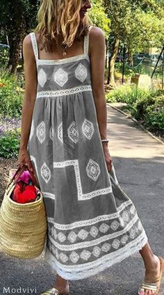 Bohemian Sling Printed Sleeveless Maxi Dresses is part of Fashion outfits - The Dress, Dress For You, Boho Fashion, Fashion Dresses, Womens Fashion, Robe Diy, Elegant Maxi Dress, Summer Outfits, Summer Dresses