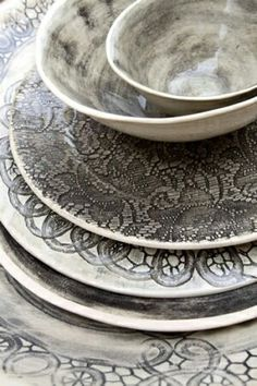 Gray and white dishes