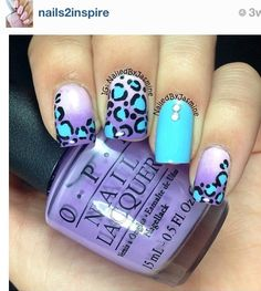 Leopard nails i love blue and purple and the way they look together