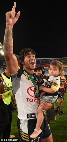 Millions of people tuned in to watch Johnathan Thurston (left) win the NRL Grand Final and Josh Gibson (right) in the AFL decider Johnathan Thurston, Wilder Vs, National Rugby League, Cowboys Win, Rugby Players, World Of Sports, Sports Stars, Broncos, Bulldogs
