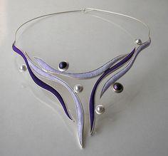 Artist: Jolanta Bromke Width: 15,50 cm Length: 45,00 cm Technique: hand made Material: cultured pearl, silver 930