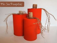 With just a little bit of paint, twine, and wine corks you can create these festive Tin Can Pumpkins. Switch out the hot glue with regular crafting glue and they're also an easy fall project for kids.