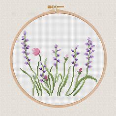 Flowers Cross Stitch pattern Lavender Helleborus floral Cross