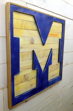 """University of Michigan X-Large Bold Letter """"M"""" Reverse Shadow Box Initial - Football Wolverines Ann"""
