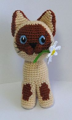Guv the Kitten, siamese cat amigurumi pattern, crochet pattern for sale on Etsy by mashutkalu