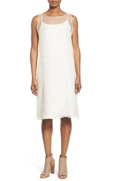 Eileen Fisher Bateau Neck Silk Shift Dress available at #Nordstrom