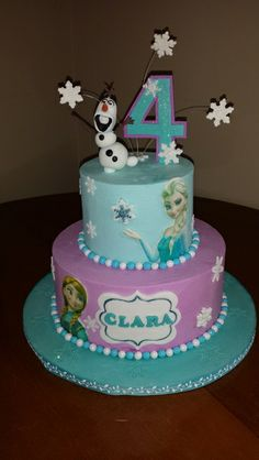 Disney's Frozen themed cake. Anna and Elsa are edible images on fondant cutouts. - uploaded by amyzingcakespc into the May 2014 www.inkedibles.com contest for cakes made using Inkedibles supplies