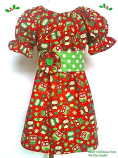 Girls Christmas Dress, Toddlers Christmas Dress, Owl Dress, Peasant Dress Sizes 2T -6 by 8th Day Studio