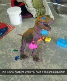 I have one daughter no sons, but she likes to play with both dinosaurs and dolls, so she would definitely do something like this. lol.