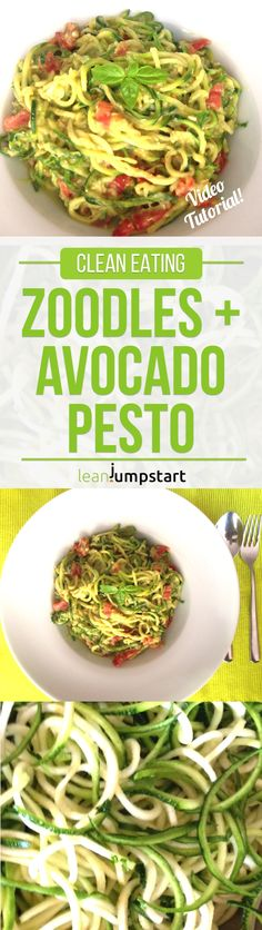 A clean eating zoodles recipe with spiralized zucchinis and avocado pesto for…