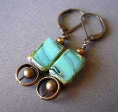 Turquoise Glass Earrings Table Cut Glass Earrings by jewelqueen, $16.00