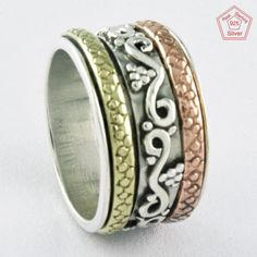 Sz 7 US, IMPRESSIVE HANDMADE DESIGN 925 STERLING SILVER SPINNER RING,R4465 #SilvexImagesIndiaPvtLtd #Spinner #AllOccasions