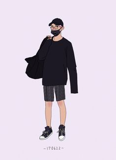 chanyeol's black summer outfits People Illustration, Character Illustration, Illustrations, Black Summer Outfits, Exo Fan Art, Digital Art Girl, Fanarts Anime, Summer Boy, Fashion Design Sketches