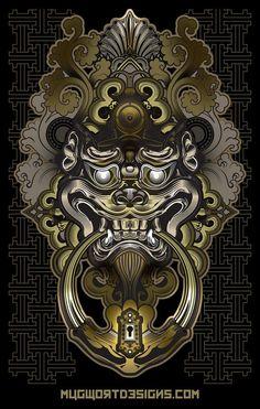 Shi Shi Lion Knocker by mugwortmedia