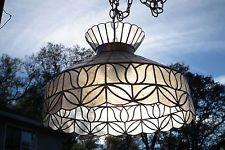 Vintage Capiz Shell Ceiling Swag Lamp Fixture, 18