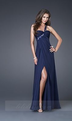 One-Shoulder Chiffon La Femme 15361n,A-Line Long Prom Dresses