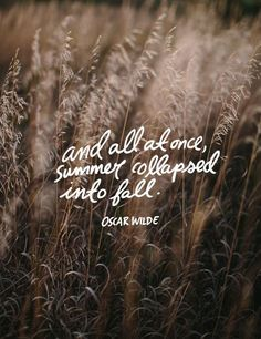 And all at once, summer collapsed into fall. -Oscar Wilde