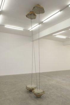 Gabriel Kuri, N, 2012, concrete and iron rods, 120 x 60 x 410 cm