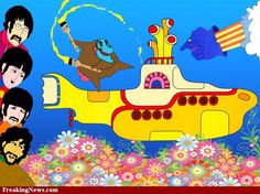 Yellow submarine -- Painted a yellow submarine on a canvas inspired by this picture. Will need to upload pic.