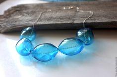 Купить Бусы из голубых стеклянныx облаков - синий, бусы, бусы из шаров, бусы из стекла