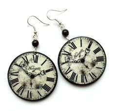 Antique white CLOCK EARRINGS retro steampunk vintage clocks gothic goth gothique perfect gift gray on Etsy, £12.02