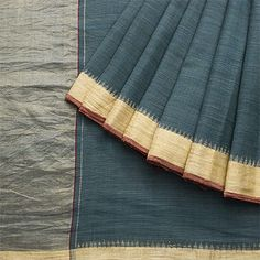 Handspun and Handwoven Khadi Cotton Sari available in Pine Green, Gold Colour Zari
