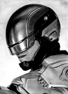 "Kreg Franco - ""Robcop""  charcoal on paper"