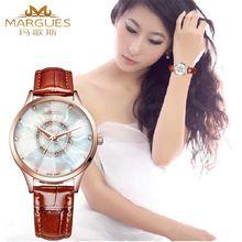22fde2899fc Luxo mulheres relógios moda strass relógio de cristal de couro relógios de  pulso de quartzo senhora relógio(China (Mainland))