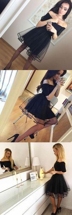 A-Line Off-the-Shoulder Dress, Short Prom Dress, Black Homecoming