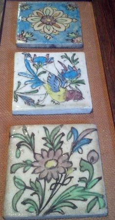 Made in Sevilla Spain Hand Painted Herb & Floral x Square Ceramic Tile Art Ceramic Tile Art, Antique Pottery, Persian, Tiles, Decorative Boxes, Hand Painted, China Painting, Bird, Antiques