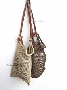 Tribal Bags, Crochet Market Bag, Net Bag, Reusable Grocery Bags, Bracelet Cuir, Leather Pieces, Beach Tote Bags, Shopper Bag, Beautiful Bags
