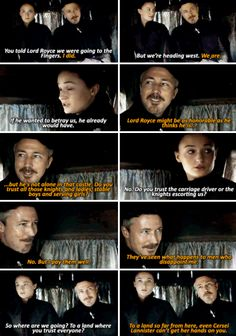 Lord Petyr Baelish & Sansa Stark - Season 5 Episode 1 ...... And the thing this journey resulted in is one of the most wtf  differences the series ever had compared to the books