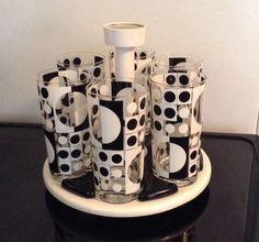 Vintage Rare Cora Drinking Glasses Set Caddy Black White Op Art Mid Century Fab