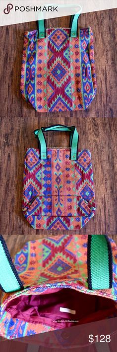 ETHNIC TOTE Diamond Tapestry Shoulder Boho Bag One Size. New with tags.  $98 Retail + Tax.  - Beautiful shoulder bag featuring diamond pattern detailing and easy, laid-back vibe.  - The perfect travel companion. - Inner snap closure and two durable green top handles.  - Interior pocket. Very spacious!    Cotton, Polyester.  Imported.    ❗️ No trades, holds or modeling requests.    Bundle 3+ items for a 20% discount!   ✔️ Items are priced to sell, however reasonable offers will be considered…