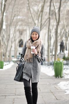 Black & White Plaid Shirt, Textured Grey Jacket, Dark Grey Skinnies, Black Over-the-Knee Boots, Tan Scarf, Grey Beanie // bundled