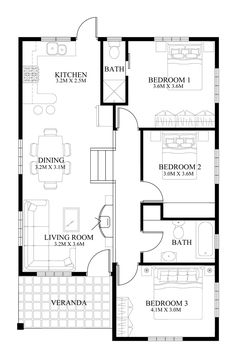 18 Elevated Bungalow House Design with Floor Plan Elevated Bungalow House Design with Floor Plan. 18 Elevated Bungalow House Design with Floor Plan. Small House Layout, Modern Small House Design, House Layout Plans, Simple House Design, House Plans One Story, Small House Plans, House Layouts, Small Kitchen Floor Plans, Floor Plans 2 Story