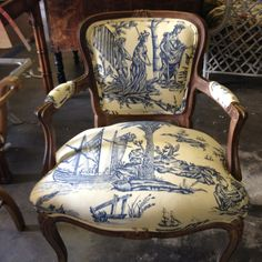 lovely french chair with gorgeous toile French Decor, French Country Decorating, Sewing Room Decor, Traditional Dining Rooms, French Chairs, French Country Cottage, Painted Chairs, French Furniture, Take A Seat