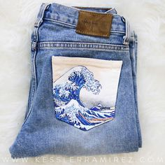 The Great Wave painted jeans by Kessler Ramirez Art -You can find Jeans and more on our website.The Great Wave painted jeans by Kessler Ramirez Art - Painted Shorts, Painted Jeans, Painted Clothes, Hand Painted, Womens Fashion Online, Latest Fashion For Women, Diy Clothing, Custom Clothes, Jeans Tumblr