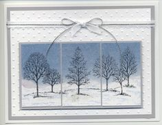 """By amyphelps at Splitcoaststampers.  Uses Stampin' Up """"Lovely as a Tree"""" stamp set. Sky brayered, spray adhesive added, then dryer sheet. After a bit, dryer sheet pulled off."""