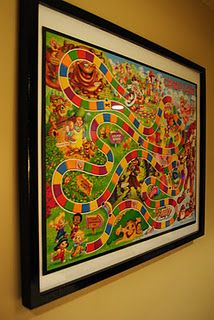 Framed game for playroom - it would be so cool to do this in a 'box picture frame so the pieces sat on the edge and you could just take it down and play with it ;)